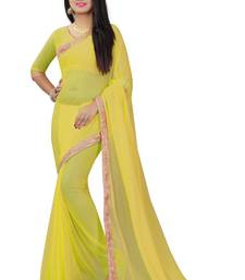 Buy Yellow plain pure nazneen saree with blouse fancy-saree online