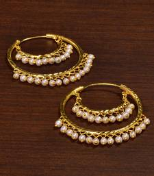 Buy Gold Plated Light Weight Pearl Embellished Hoops for Women women-ethnic-wear online