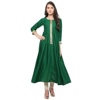 Green  art silk kurtas-and-kurtis
