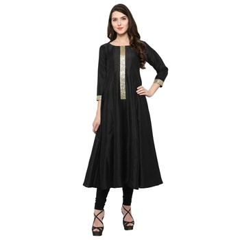 Black  art silk kurtas-and-kurtis