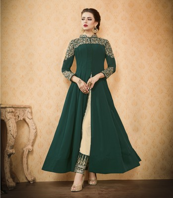 Green Embroidered Georgette Unstitched Salwar With Dupatta
