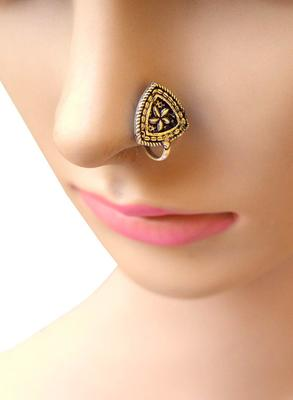 Oxidized Metal Nose Pin  Trangle Shape