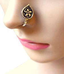 Oxidized Metal Nose Pin  Leaf Shape