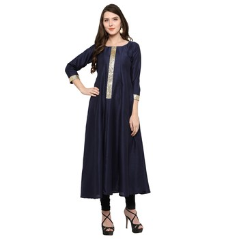 Blue  art silk stitched kurti
