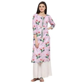 Pink  art silk stitched kurti