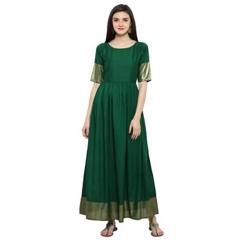 Green  art silk stitched kurti