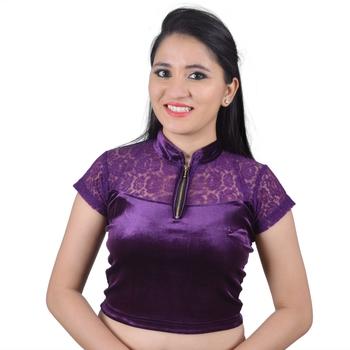 Purple  Cotton Lycra Solid stitched blouse