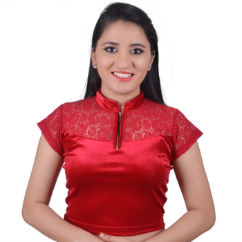 Maroon Cotton Lycra Solid stitched blouse