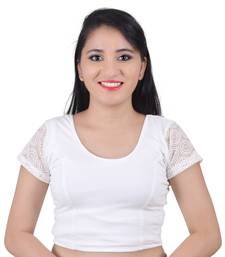 Buy White Cotton Lycra Solid stitched blouse readymade-blouse online
