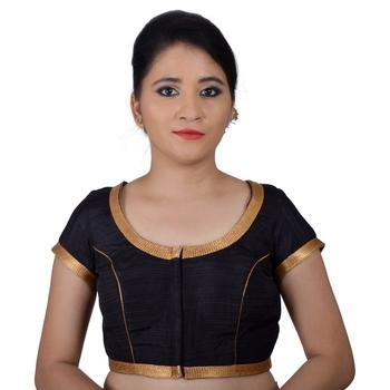 Black Silk Princess Cut Padded Readymade Blouse