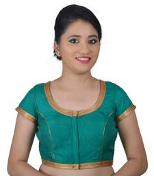Green Silk Princess Cut Padded Readymade Blouse