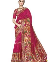 Buy Dark pink embroidered silk saree with blouse bridal-saree online