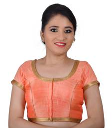 Peach Silk Princess Cut Padded Readymade Blouse