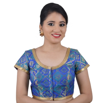 Blue Brocade Jamevar Woven Padded Readymade Blouse