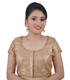 Hand embroidered Silk and Net Back Gold Readymade Blouse