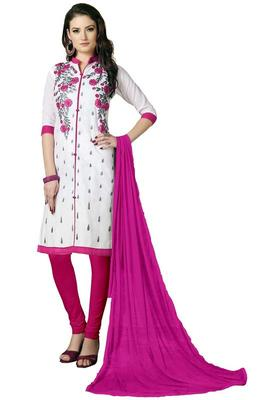 22983d16ad34b3 white embroidered cotton semi stitched salwar with dupatta - Roykals ...