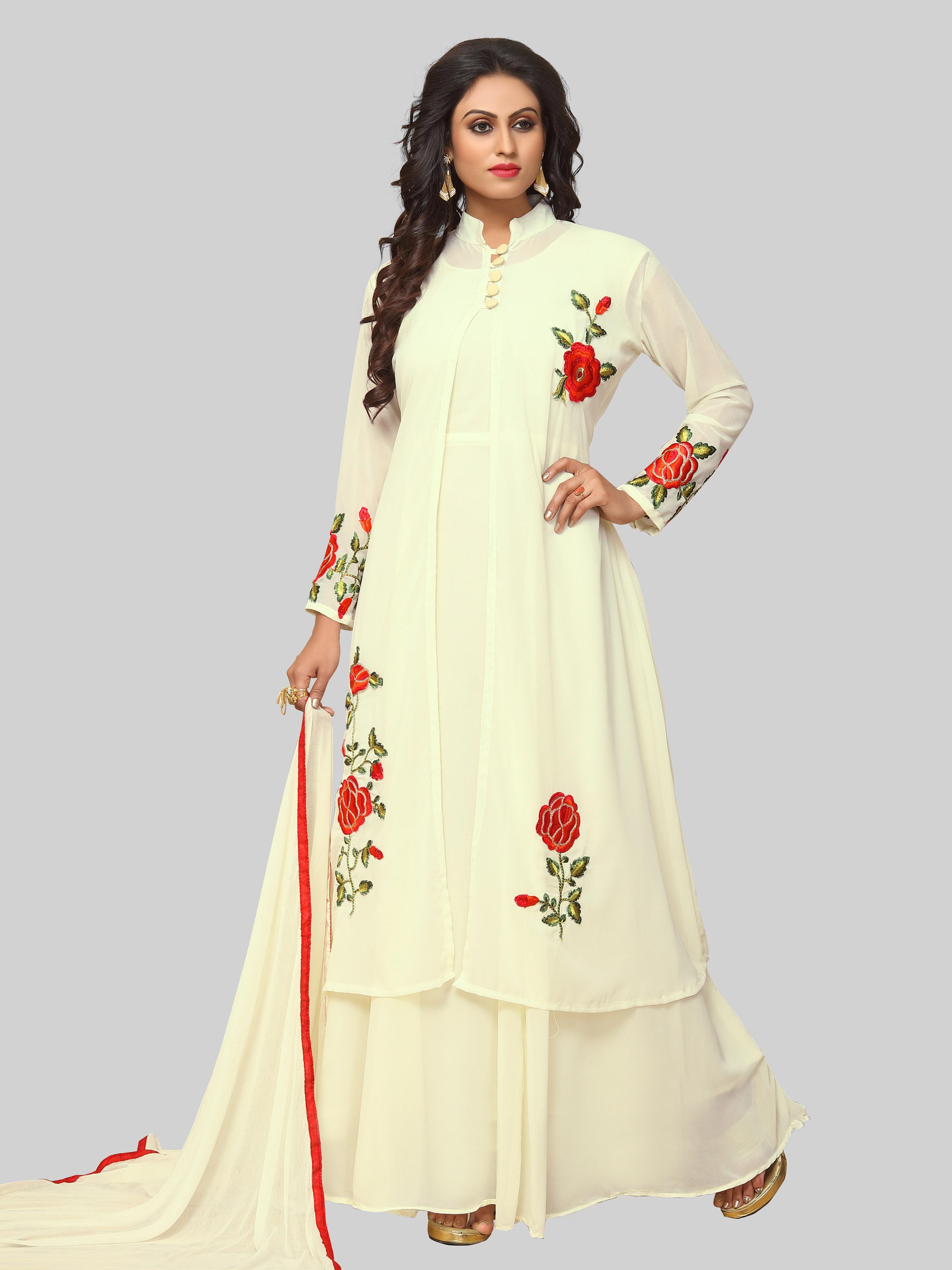 f9f05f4add3 Off white embroidered faux georgette salwar with dupatta - Ethnic Yard -  2314009