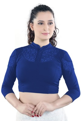Royal Blue Cotton Lycra plain stitched blouse