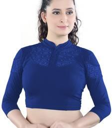 Royal Blue Cotton Lycra plain stitched blouse