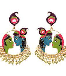Meenakari kundan Radha Krishna bali brass jhumki earring set-538