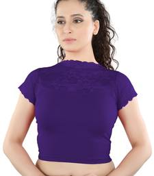 Purple Cotton Lycra plain stitched blouse