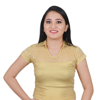 Light Gold Cotton Lycra plain stitched blouse