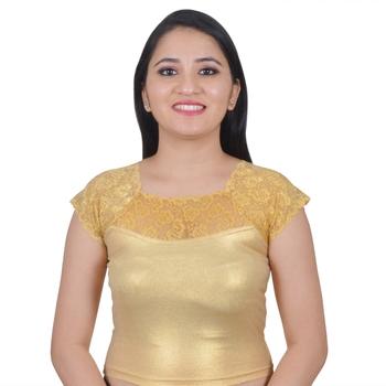 Light Gold Cotton Lycra Plain Stitched Blouse