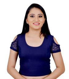Navy Blue Cotton Lycra plain stitched blouse