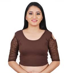 Brown Cotton Lycra plain stitched blouse