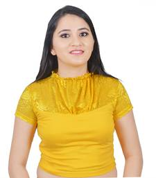 Yellow Cotton Lycra plain stitched blouse