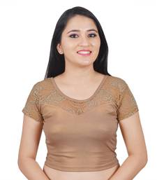 Dark Gold Cotton Lycra plain stitched blouse