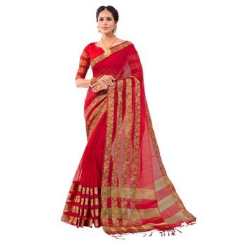 Red Woven Banarasi Silk Cotton Saree With blouse