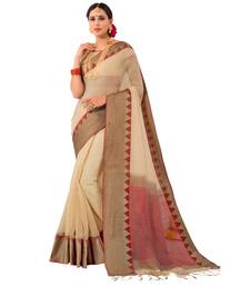 Buy Beige woven Cotton Silk Saree with blouse women-ethnic-wear online