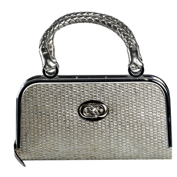 Mini Metal Frame And Basket Weave With Braid Handles