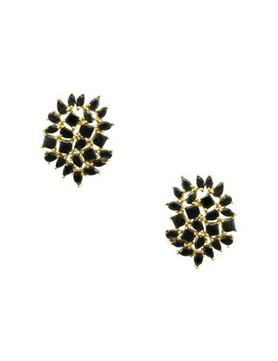 Black CZ AD American Diamond Stud Earrings Jewellery For Women