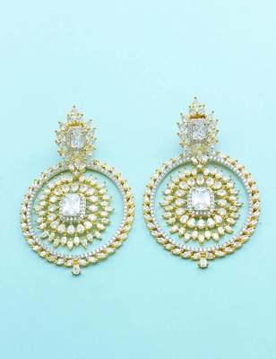 Clear CZ AD American Diamond Dangle Earrings Jewellery For Women