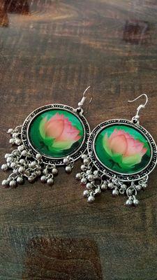 Beautiful flower design german silver earring