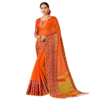 Orange woven Banarasi Silk Cotton  saree with blouse