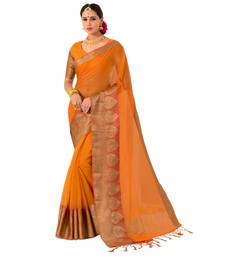 Buy Yellow woven Banarasi Silk Cotton saree with blouse women-ethnic-wear online