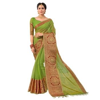 Green woven Banarasi Silk Cotton saree with blouse