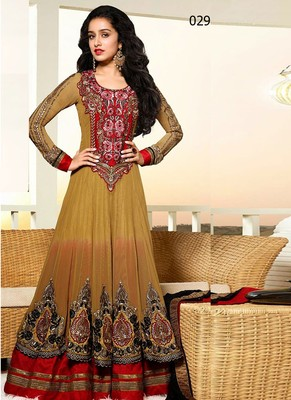 342e238c3f6 Indian Heavy Beautiful Designer And Styles Brown Anarkali Suits - V and V  Shop - 312184