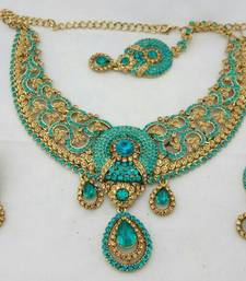 Turquoise  Gold Crystal Stone Necklace Earring Tika Set
