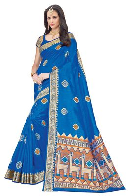 Blue printed patola saree with blouse