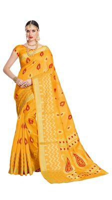 Yellow printed patola saree with blouse