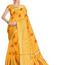 Buy Yellow printed patola saree with blouse patola-sari online