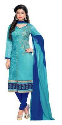 Sky blue embroidered chanderi kameez with dupatta