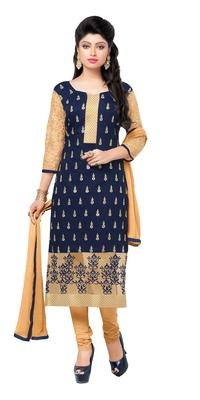 Navy blue embroidered chanderi salwar with dupatta