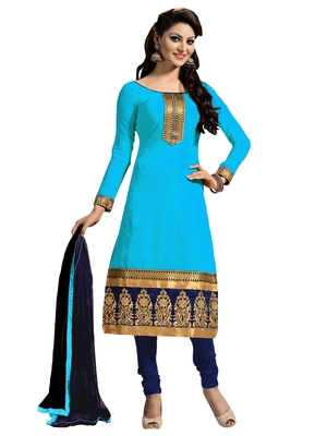 Blue embroidered chanderi salwar with dupatta