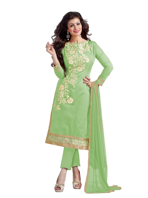 Light green embroidered chanderi salwar with dupatta