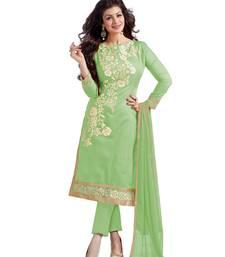 Light green embroidered chanderi salwar with dupatta